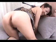Breasty Oriental Cutie Getting Her Hairy Pussy