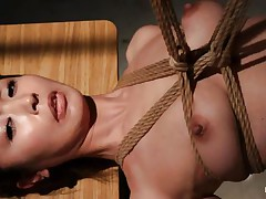 Have a look at this sexy cunt, she's all tied up and hangs there quietly until she gets roughly mouth fucked with a dildo. The intensity and brutality of the fucking makes our slut horny! She's not only fucked, the executor slaps her and strangulates her too. After all that he leaves the bitch hanging in the dark
