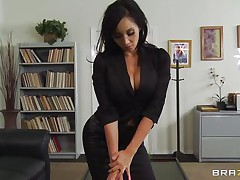 These four hot babes are going to make an offer to their boss her really can't refuse. See how the 1st one goes and and takes her raiment off and shows her big tits the same like the rest of them. They show him how hard they can work as group sucking his hard cock and making him cum.