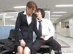 Now that is not a way to treat your work place! The slutty Japanese employee goes on the desk and pisses on it. This babe is a bit shy and worried about what her colleagues will think, luckily this one supports her and even greater amount then that, he gives the slut his dick for a rub and much more. Wonder what she will do next?