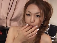 Breasty Oriental gal with curly muff feels dick and twat in hole
